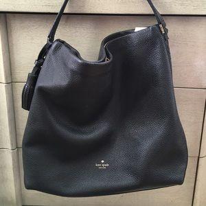 Kate spade black leather shoulder bag purse
